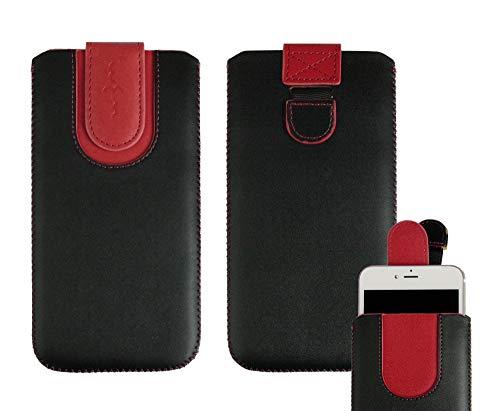 emartbuy Schwarz/Rot Premium PU Leder Slide In Hülle Abdeckung Tashe Hülle Sleeve Halter (Größe SA6) Mit Zuglaschen Mechanismus Geeignet Für Die Unten Aufgeführten Smartphones