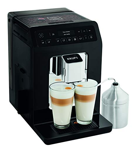 Krups Evidence Espresso EA8918 - Cafetera Superautomática 15 Bares, 15 Preajustes, Niveles de Intensidad, Molido Grano, Autolimpieza y Descalcificación e Incluye Jarra de Leche