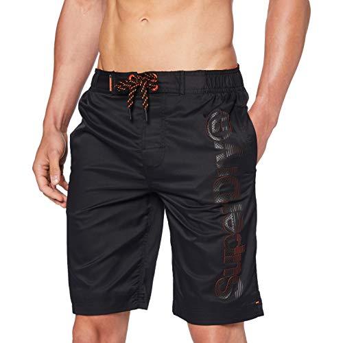 Superdry Mens Classic Boardshort Board Shorts, Black, 2XL