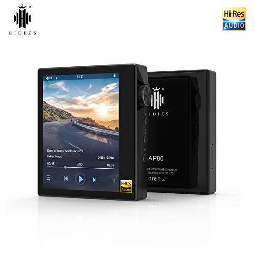HIDIZS AP80 Reproductor de música HiFi ultraportátil con Bluetooth LDAC/aptX/FLAC, Reproductor de MP3 de Alta resolución con Pantalla Táctil Completa (Negro)