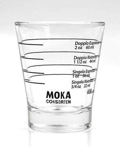 Moka Consorten Italienisches Espresso Shotglass | spülmaschinentauglich Shot Glas | 60 ml | Made in Italy | nachhaltig verpackt