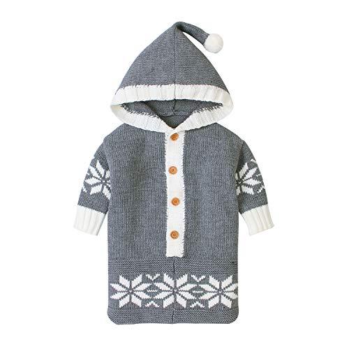 FREEHM Baby Einschlagdecke, Schlafsack, Wickeldecke für Neugeborene und Kleinkinder, Winter Umschläge Säuglingskinderwagen Für Neugeborene Gestrickten Schlafsack für 0-12 Monate,Grau