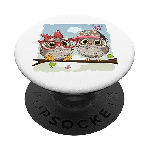 Süßes Eulen Paar Liebe Comic Stil Eule Geschenk Weihnachten PopSockets PopGrip: Ausziehbarer Sockel und Griff für Handys/Tablets mit Tauschbarem Top