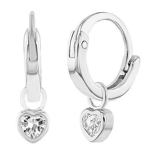 925 Sterling Silver Clear CZ Heart Charm Baby Hoop Earrings Toddlers Girls 0.31'