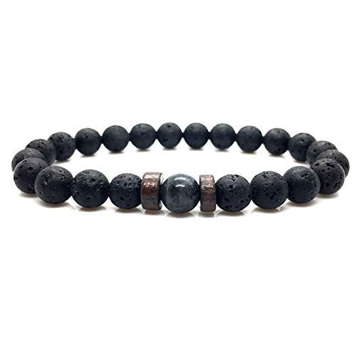 Pulsera de los Hombres Natural Moonstone Bead Tibetan Buda Pulsera Chakra Lava Difusor Pulseras Hombres Y Mujeres Joyería Regalo Pulsera Regalos De Cumpleaños Braclet (Color : Black, Size : Small)