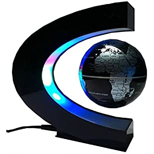Koiiko Floating Globe, C Shape Rotating Magnetic Levitation Anti Gravity World Map Globe with LED Lights Great Christmas Gift for Learning Education Teaching Demo Home Office Desk Decoration-Black:Kisaran