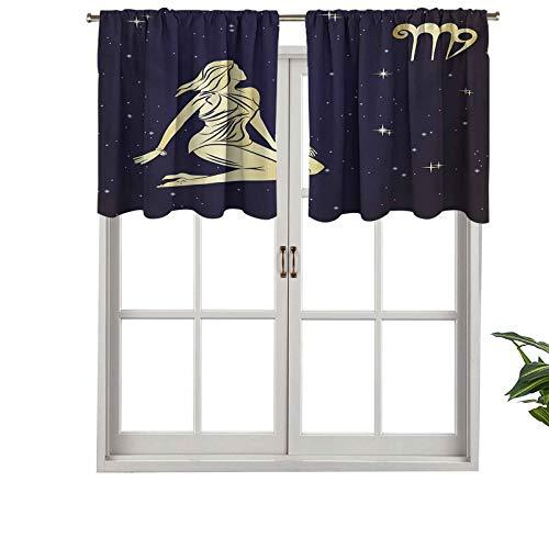 Hiiiman Cortinas cortas, con bolsillo para barra, de alta calidad, para mujer, con vestido corto, con aspecto espacial, juego de 1, 106,7 x 45,7 cm para baño y cocina
