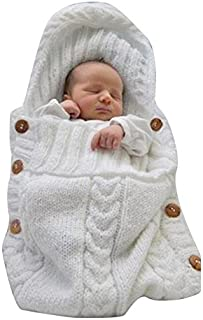 eMarto Newborn Blanket Baby Warm Blanket Sleeping Sack Stroller Wrap(White)