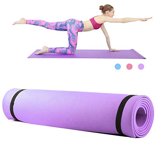 Yoga Mat Aptitud del cojín 6 mm de Espesor de Espuma EVA Yoga Mat Antideslizante Yoga Pilates Mat Pad Aptitud del Ejercicio Ejercicio 68X24 Pulgadas fácil de Ejercicio (Color : Purple)