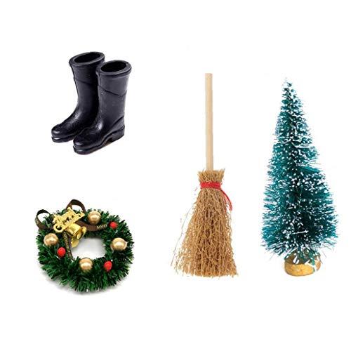 Nicetruc 4PCS de Navidad Casa de muñecas, Corona de Navidad + Escoba + + Botas de Lluvia de Alta Cedar Navidad Árbol Decoración de Accesorios para niños
