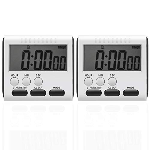 Cronometro Cucina Magnetico, 2 Pezzi Timer Cucina Digitale con Grande Schermo LCD, Timer Memoria con Sveglia Forte e Conto alla Rovescia Bianco