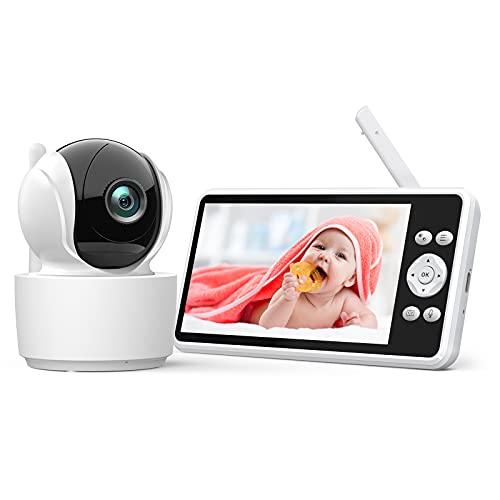 Vigilabebés con Cámara Pantalla LCD de 5.0',355°/120°Rotación de Control Remoto,Zoom 1.5/2x,Vigilancia con Visión Nocturna,Batería 4000mAh,Comunicación Bidireccional y Sensor de Temperatura,VOX