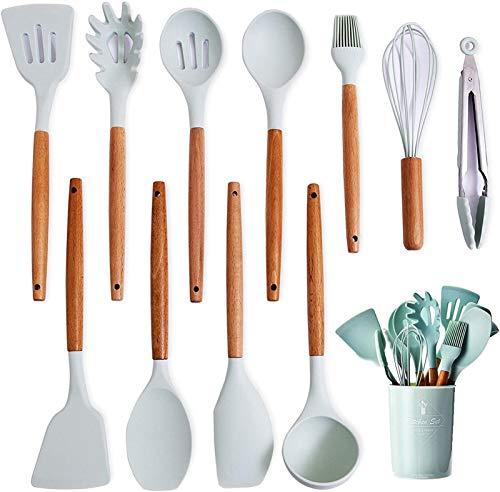 XUFAN Cocina Utensilios de conjunto con tenedor, cuchara de silicona Cocinar Espátula mango de madera, Espátula for utensilios de cocina antiadherente, luz azul de silicona utensilios de cocina Utensi