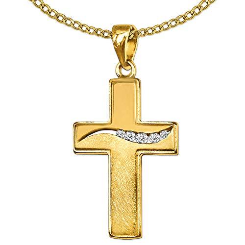 Clever Schmuck Set gouden dameshangers kruis 20 mm met 5 spanningszirkonia's golfvormig geordend, bovenkant glanzend, onderkant patroon mat 333 & ketting schakel 45 cm beide goud 8 karaat