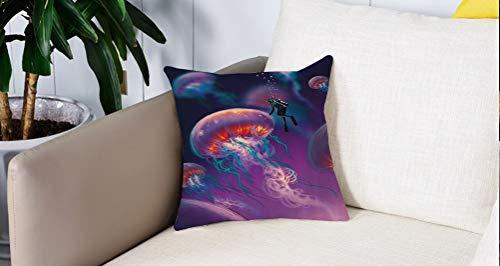 Pillow Case Cojín Cuadrado Print,Fantasía, Buceador con Medusa Gigante Mundo Mágico Submarino Imagen Artesanal Diseño Marino, MAdecuado para Oficina, Familia, automóvil, cafetería, Tienda, 45x45cm