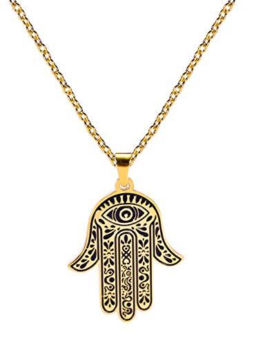 VASSAGO Collar de acero inoxidable con colgante de mano de Fátima con forma de amuleto grabado para hombres, mujeres, adolescentes