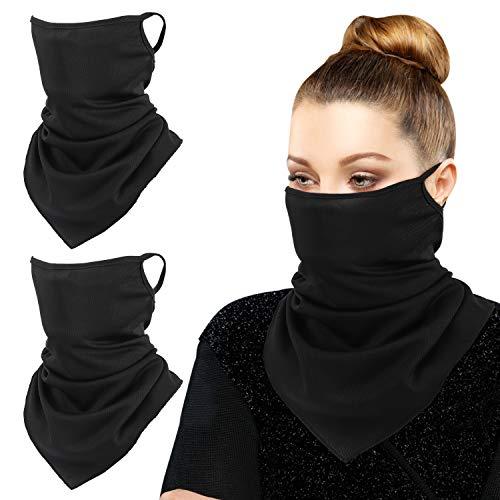 MoKo Gesichtsschal mit Ohrschlaufen, 3 Pack Gesichts Sturmhaube UV Sonnenschutz Windschutz Outdoor Staubdicht Halstuch Neck Gaiter Bandana für Damen Herren - Schwarz