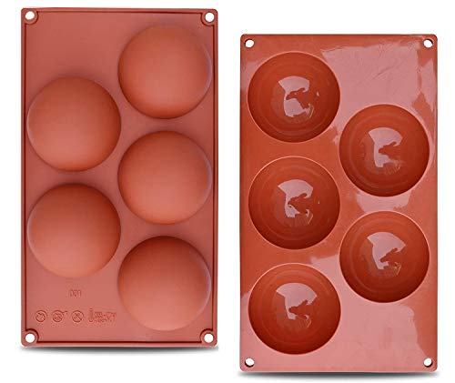 2 Packs X-Large (3.1 in) Sphere Silicone Mold, Baking Mold for Making Hot Chocolate Bombs, Hot cocoa bombs, Cake, Jelly, Candy