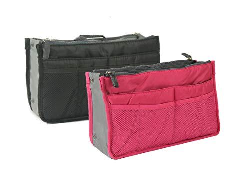 Handtaschenordner, Einlage, Einsatz 12 Taschen groß 28x17x8cm (2 Pack - Schwarz und Fuchsia)