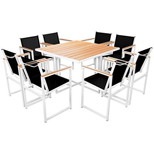 Festnight 9-delige Tuinset met Eettafel en stoel salontafel voor eetkamer woonkamer keuken HKC tafelblad aluminium