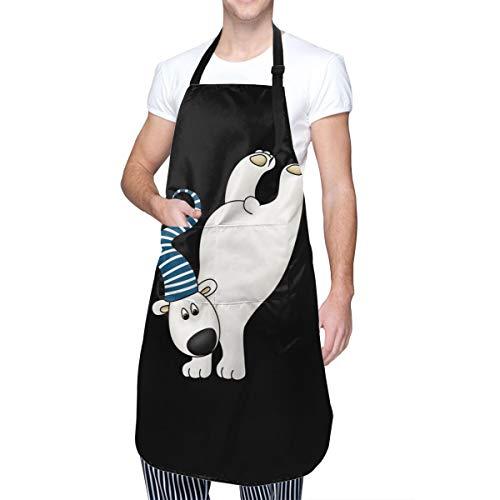 Baca-Uncle Waterproof Kitchen Apron, Adjustable Chef Cooking Bib, White Bear Neck Waist Tie Front Kangaroo Pocket