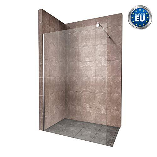Duschabtrennung Duschwand Walk In Dusche 10mm STARK aus DURCHSICHTIGEM ESG Sicherheitsglas mit Edelstahl Wandprofilen #740 (140 x 200cm, Klares Glas)