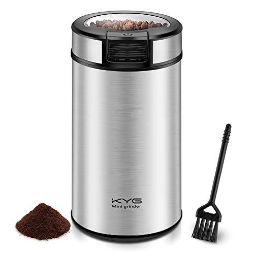 Kaffeemühle Elektrische Kaffeemühle 200W mit Schlagmesser 60g Fassungsvermögen Mühle für Kaffeebohnen Nüsse Gewürze GetreideSilber