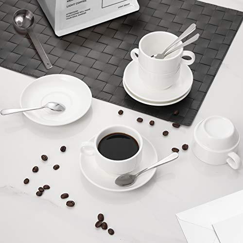 Aozita Espresso Cups and Saucers with Espresso Spoons, Stackable Espresso Mugs,12-piece 2.5-Ounce Demitasse Cups (Protective Packaging)