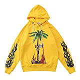 Keren PA Angel Flame Palm Tree Skull Loose Pullover Sweater for Men And Women