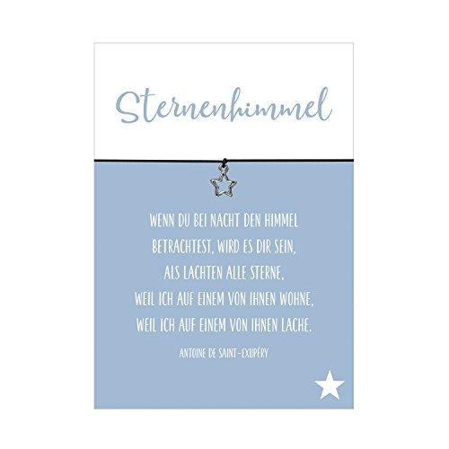 Glücksschmiedin Wunscharmband Trauer und Trost Sternenhimmel mit Stern Anhänger versilbert, elastischem Textilband in schwarz und liebevoller Karte
