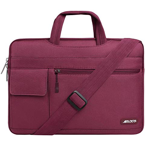 MOSISO Laptop Shoulder Bag Compatible with 13-13.3 inch MacBook Pro, MacBook Air, Notebook Computer, Polyester Flapover Briefcase Sleeve Case, Wine Red