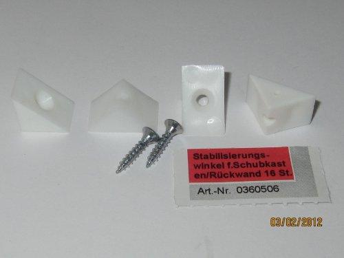 Stabilisierungswinkel für Schubkasten/Rückwand, weiss, 16 Stk., 0360506