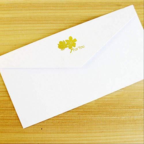 (10 Piezas/lote) Sobres de papel Sobre de invitación de boda decorado con bronceado clásico 11 * 22 cm Blanco