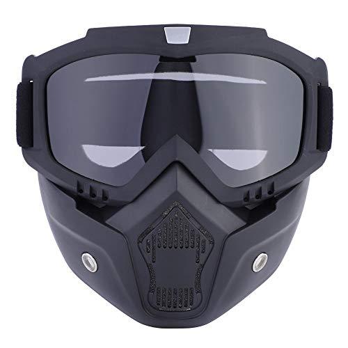 Estink Motorrad-Maske mit Brille, Motocross-Maske, verstellbares Kopfband mit Antibeschlag-Filter, winddicht, offen, für Motocross, Snowboard, Skifahren und Reiten (grau)
