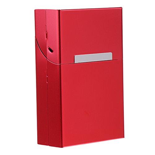 MagiDeal Aluminium Zigarettenschachtel, Zigarettenbox, Packungsetui, Zigarettenetui, Zigarettenhülle - Rot