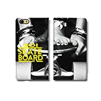 chatte noir iPhone11 ケース 手帳型 おしゃれ SKATEBOARD SK8 スケボー スケートボード ストリート B シボ加工 高級PUレザー 手帳ケース ベルトなし