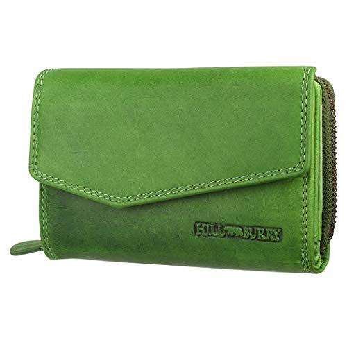 Hill Burry Echtleder Damen Geldbörse Hochwertig Vintage Chunkyrayan 13092 Green