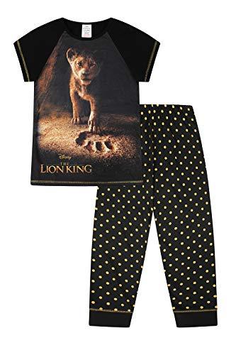 Pijama largo con diseño de El Rey León, para niña, de 6 a 14 años, diseño de lunares, color negro y dorado Negro Negro ( 6-7 Years