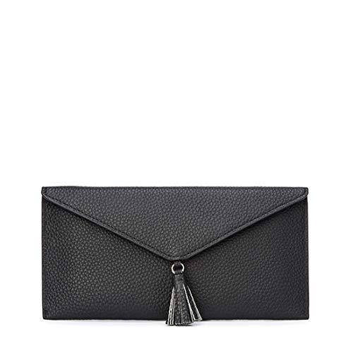 KDXBCAYKI La Primera Capa de Cuero con Flecos de Sobres Bolso de Mano liviano Lady Wallet Bolso para teléfono móvil Cartera de Moda (Color : Negro)