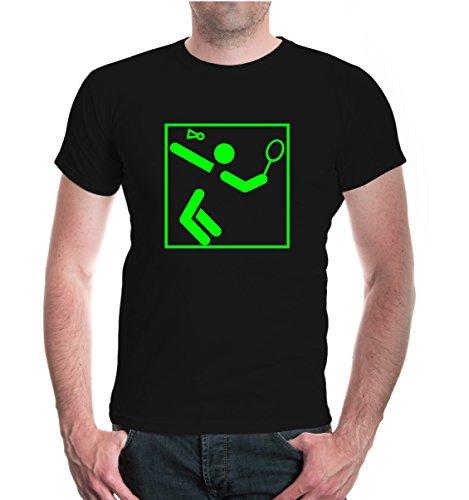 buXsbaum® Herren Unisex Kurzarm T-Shirt bedruckt Badminton-Piktogramm   Federball Ballsport Schläger   L black-neongreen Schwarz