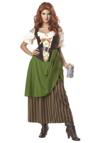 Tavern Maiden Costume Small Green,Brown