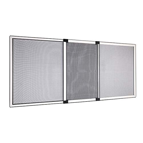 Sekey Ventana de Pantalla Deslizante de Fibra de Vidrio con Marco de Aluminio, Resistente a la Intemperie, 70x100 cm, Marco Blanco