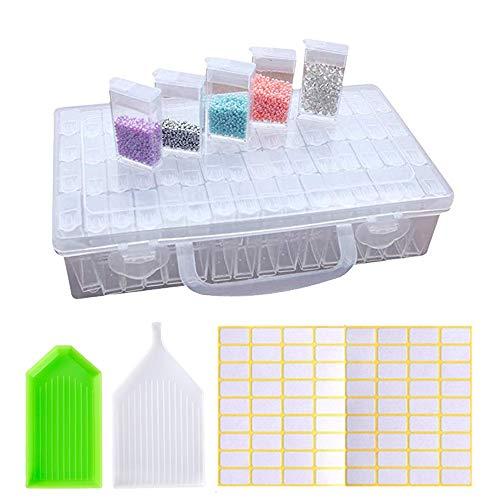 LAKIND Caja Organizadora de 64 Rejillas, Caja Almacenamiento Caja de Bordado de Diamantes
