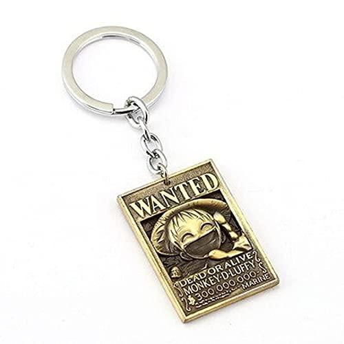 ONE PIECE Anime Keychain Car Bag Charm Key Chain Ring Pendant Keyring Luffy Hat Zoro Sanji Wanted Key Holder Accessories Jewelry 18
