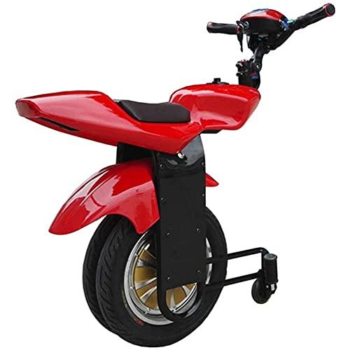 J&LILI Elektro-Einrad Scooter Selbst Balancing 500W Erwachsene Einzel-Rad-Motorrad Mit Twin Wheel, Mit Stützrad Und Bluetooth-Audio,Rot