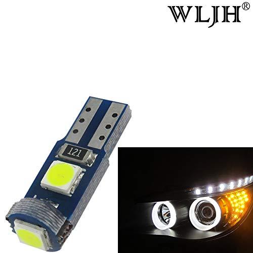 WLJH Lot de 50 ampoules LED T5 avec anneau halo et anneau d'instrument Blanc 6 000 K 1,5 W