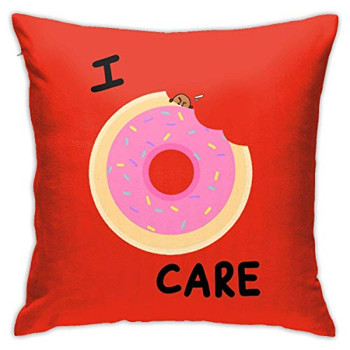 Hangdachang Throw Pillow Case 45cm x 45cm I Really Donut Care Pillowcase,Square Throw Covers,Decorative Cushion for Sofa Couch Car