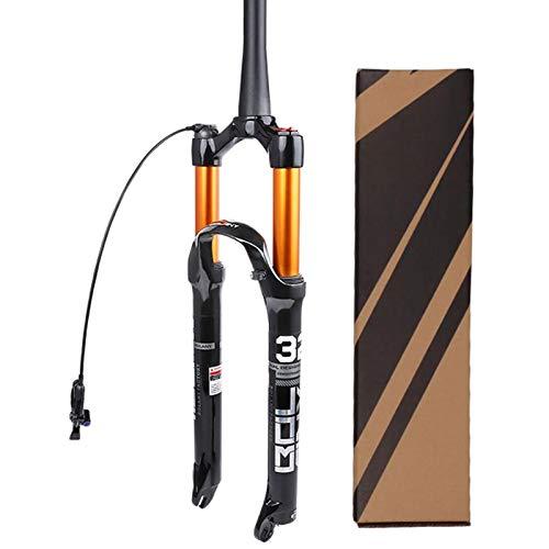 26 27,5 29' Horquilla Delantera Bicycle Air MTB,Amortiguador de Gas Ultraligero Bloqueo Manual/Bloqueo Remoto 1-1/2' (Color : Tapered Remote Lock, Size : 26inch)