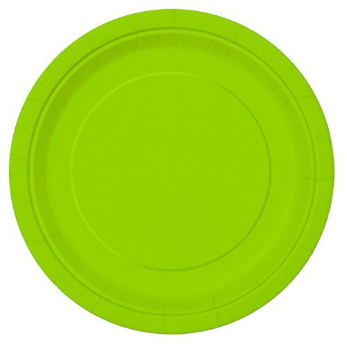 Unique party tableware Neon Green Dinner Plates, 16ct, 9'