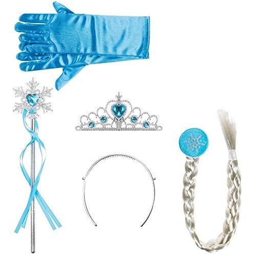 Princesa Vestir Accesorios,Kit de Disfraz de Reina del Hielo Joyería Princesa de la Nieve Conjunto con Guantes Trenzas Varita Corona para Niña Fiesta Partido Azul